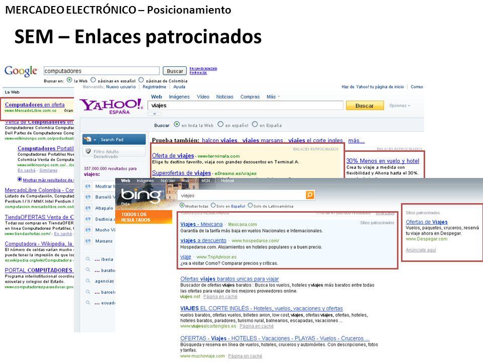 SEM – Enlaces patrocinados MERCADEO ELECTRÓNICO – Posicionamiento
