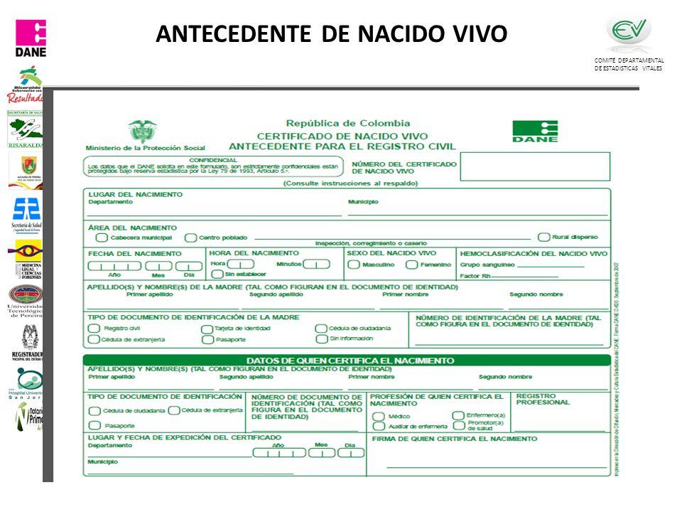 COMITÉ DEPARTAMENTAL DE ESTADISTICAS VITALES ANTECEDENTE DE NACIDO VIVO
