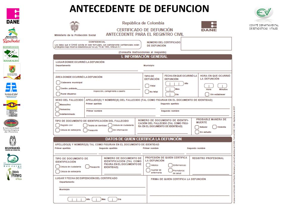 COMITÉ DEPARTAMENTAL DE ESTADISTICAS VITALES ANTECEDENTE DE DEFUNCION