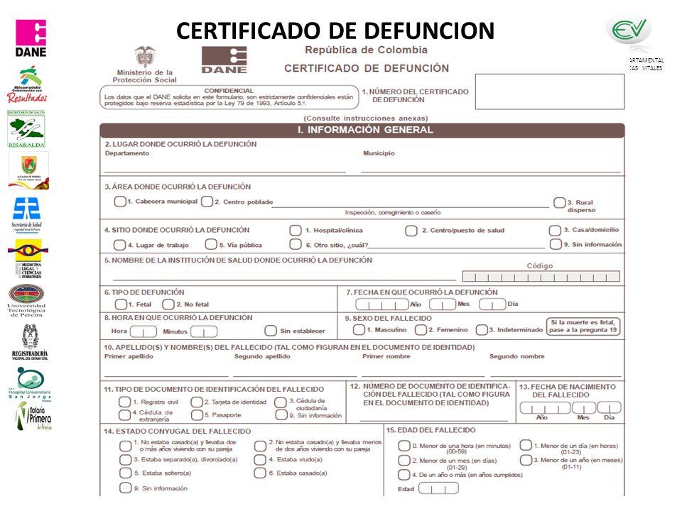 COMITÉ DEPARTAMENTAL DE ESTADISTICAS VITALES CERTIFICADO DE DEFUNCION