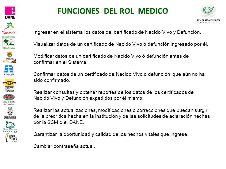 FUNCIONES DEL ROL MEDICO COMITÉ DEPARTAMENTAL DE ESTADISTICAS VITALES Ingresar en el sistema los datos del certificado de Nacido Vivo y Defunción.