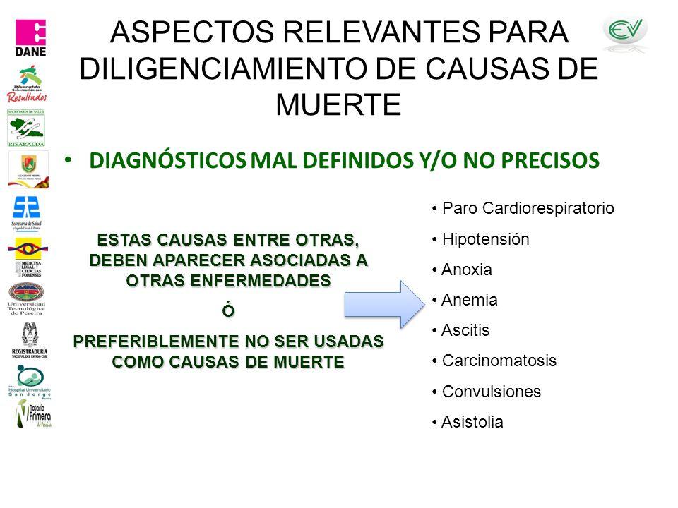 ASPECTOS RELEVANTES PARA DILIGENCIAMIENTO DE CAUSAS DE MUERTE DIAGNÓSTICOS MAL DEFINIDOS Y/O NO PRECISOS Paro Cardiorespiratorio Hipotensión Anoxia Anemia Ascitis Carcinomatosis Convulsiones Asistolia ESTAS CAUSAS ENTRE OTRAS, DEBEN APARECER ASOCIADAS A OTRAS ENFERMEDADES Ó PREFERIBLEMENTE NO SER USADAS COMO CAUSAS DE MUERTE