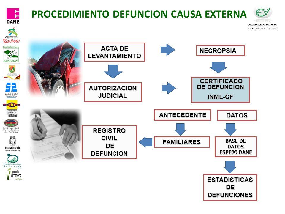 PROCEDIMIENTO DEFUNCION CAUSA EXTERNA COMITÉ DEPARTAMENTAL DE ESTADISTICAS VITALES CERTIFICADO DE DEFUNCION CERTIFICADO DE DEFUNCIONINML-CF ACTA DE LEVANTAMIENTO NECROPSIA AUTORIZACION JUDICIAL REGISTRO CIVIL DE DEFUNCION DE DEFUNCION ESTADISTICAS DE DEFUNCIONES DATOS ANTECEDENTE BASE DE DATOS ESPEJO DANE FAMILIARES