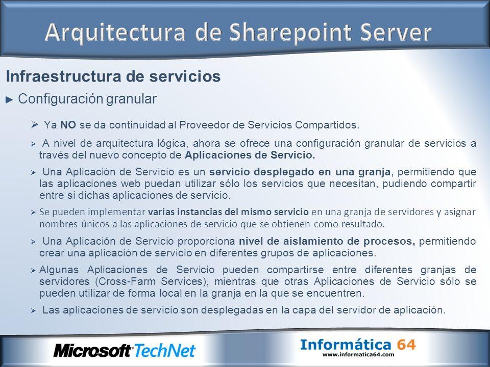 Infraestructura de servicios Configuración granular Ya NO se da continuidad al Proveedor de Servicios Compartidos. A nivel de arquitectura lógica, aho
