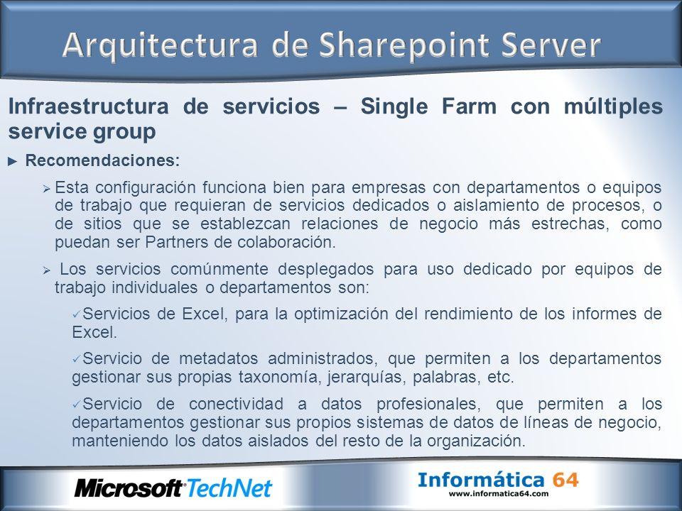 Infraestructura de servicios – Single Farm con múltiples service group Recomendaciones: Esta configuración funciona bien para empresas con departament