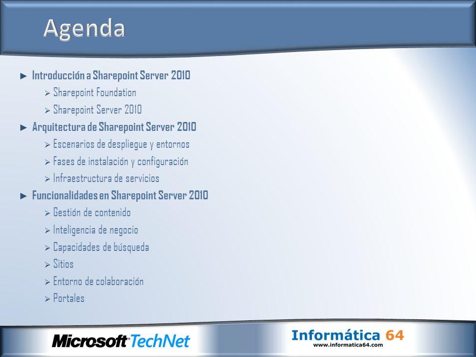 Servidor de gestión de contenido Content Management Server 2002 (CMS 2002) Sharepoint Team Services (STS 1.0) Servidor de colaboración Sharepoint Portal Server 2001 Exchange como repositorio Integración con Office XP Developer Tecnología ASP 3.0 Sharepoint Team Services (STS 1.0) Servidor de colaboración Sharepoint Portal Server 2001 Exchange como repositorio Integración con Office XP Developer Tecnología ASP 3.0 Plataforma.Net Windows Sharepoint Services 2.0 (WSS 2.0) Servidor de colaboración Sharepoint Portal Server 2003 SQL Server 2000 como repositorio Integración con Office 2003 Tecnología ASP.NET Windows Sharepoint Services 2.0 (WSS 2.0) Servidor de colaboración Sharepoint Portal Server 2003 SQL Server 2000 como repositorio Integración con Office 2003 Tecnología ASP.NET Microsoft Office Business Scorecard Accelerator (WSS 2.0) Microsoft Office Business Scorecard Manager 2005 (WSS 2.0 o SPS 2003) Windows Sharepoint Services 3.0 (WSS 3.0) Servidor Microsoft Office Sharepoint Server 2007 (MOSS) SQL Server 2000/2005/2008 como repositorio Integración con Office 2007 Tecnología ASP.NET Windows Sharepoint Services 3.0 (WSS 3.0) Servidor Microsoft Office Sharepoint Server 2007 (MOSS) SQL Server 2000/2005/2008 como repositorio Integración con Office 2007 Tecnología ASP.NET Microsoft PerformancePoint Server 2007 (WSS 3.0 o MOSS 2007) Microsoft PerformancePoint Server 2007 (WSS 3.0 o MOSS 2007) Sharepoint Foundation 2010 (WSS 4.0) Servidor Sharepoint Server 2010 SQL Server 2005/2008 como repositorio Integración con Office 2010 Tecnología ASP.NET Sharepoint Foundation 2010 (WSS 4.0) Servidor Sharepoint Server 2010 SQL Server 2005/2008 como repositorio Integración con Office 2010 Tecnología ASP.NET