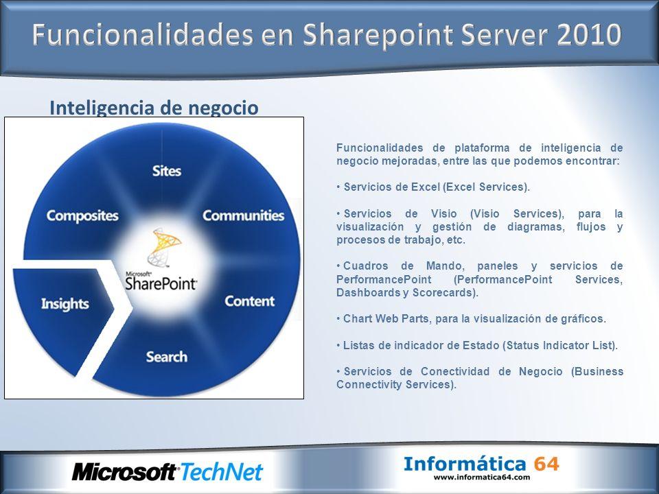 Inteligencia de negocio Funcionalidades de plataforma de inteligencia de negocio mejoradas, entre las que podemos encontrar: Servicios de Excel (Excel