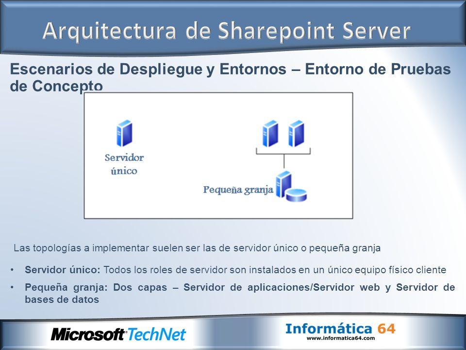 Escenarios de Despliegue y Entornos – Entorno de Pruebas de Concepto Servidor único: Todos los roles de servidor son instalados en un único equipo fís