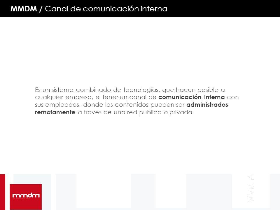 MMDM / Canal de comunicación interna Es un sistema combinado de tecnologías, que hacen posible a cualquier empresa, el tener un canal de comunicación interna con sus empleados, donde los contenidos pueden ser administrados remotamente a través de una red pública o privada.