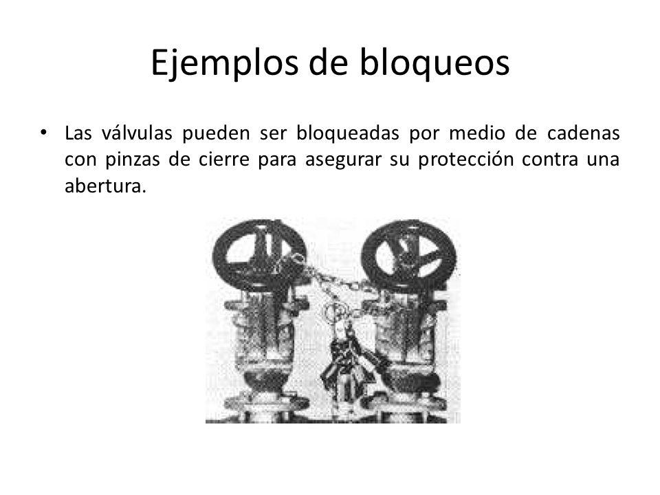 Ejemplos de bloqueos Las válvulas pueden ser bloqueadas por medio de cadenas con pinzas de cierre para asegurar su protección contra una abertura.