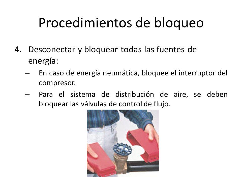 Procedimientos de bloqueo 4.Desconectar y bloquear todas las fuentes de energía: – En caso de energía neumática, bloquee el interruptor del compresor.