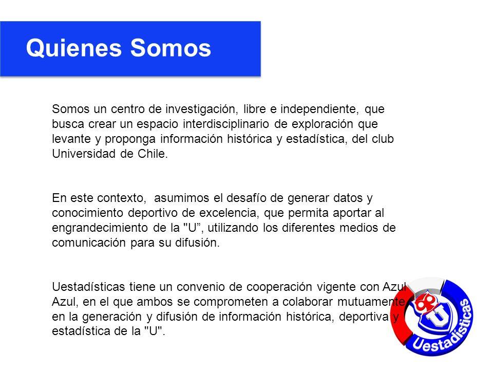 Quienes Somos Somos un centro de investigación, libre e independiente, que busca crear un espacio interdisciplinario de exploración que levante y proponga información histórica y estadística, del club Universidad de Chile.