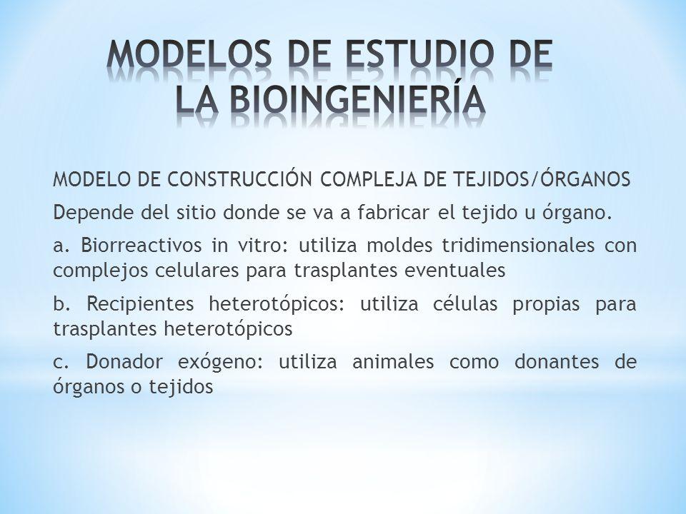 MODELO DE CONSTRUCCIÓN COMPLEJA DE TEJIDOS/ÓRGANOS Depende del sitio donde se va a fabricar el tejido u órgano. a. Biorreactivos in vitro: utiliza mol