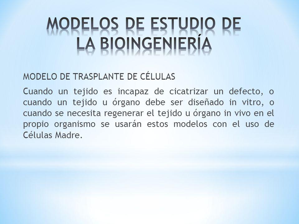 MODELO DE TRASPLANTE DE CÉLULAS Cuando un tejido es incapaz de cicatrizar un defecto, o cuando un tejido u órgano debe ser diseñado in vitro, o cuando