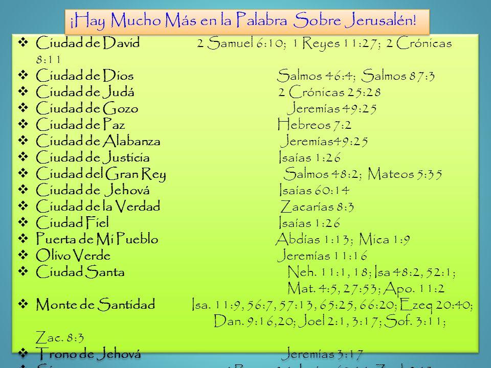 Ciudad de David 2 Samuel 6:10; 1 Reyes 11:27; 2 Crónicas 8:11 Ciudad de Dios Salmos 46:4; Salmos 87:3 Ciudad de Judá 2 Crónicas 25:28 Ciudad de Gozo J