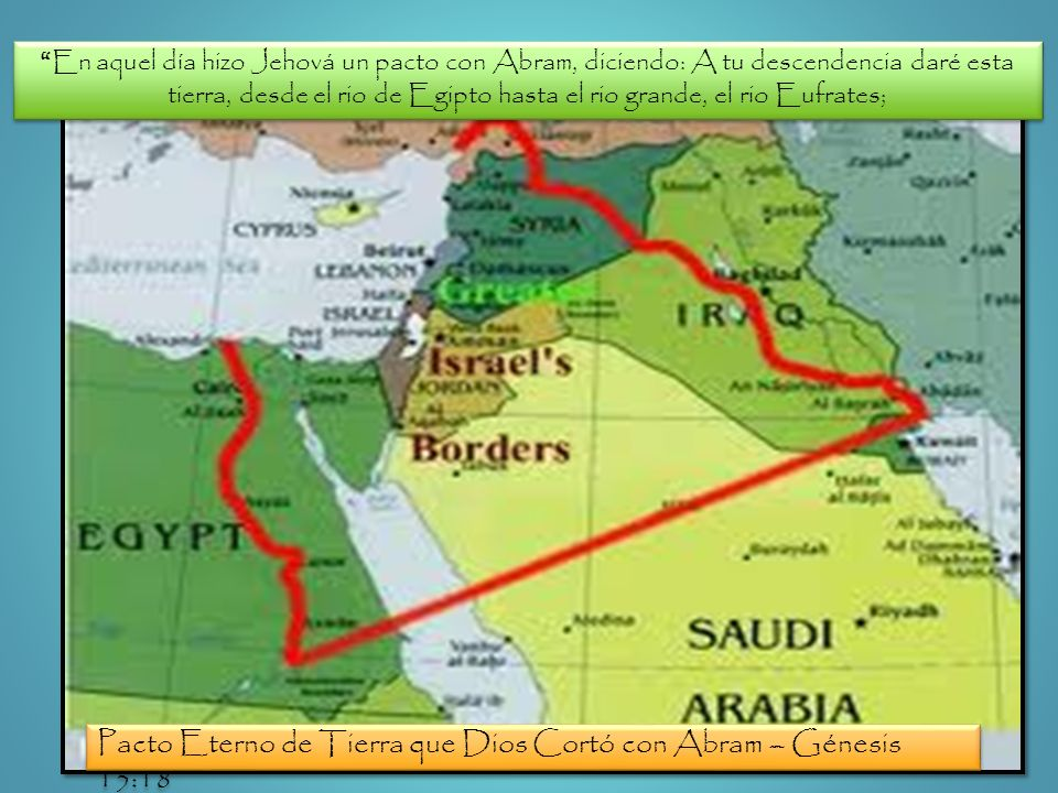 En aquel día hizo Jehová un pacto con Abram, diciendo: A tu descendencia daré esta tierra, desde el rio de Egipto hasta el rio grande, el rio Eufrates