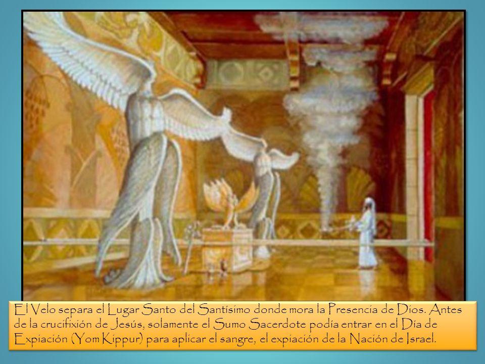 El Velo separa el Lugar Santo del Santísimo donde mora la Presencia de Dios. Antes de la crucifixión de Jesús, solamente el Sumo Sacerdote podía entra