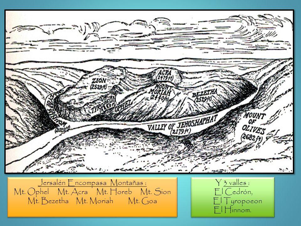 Y 3 valles : El Cedrón, El Tyropoeon El Hinnom. Y 3 valles : El Cedrón, El Tyropoeon El Hinnom. Jersalén Encompasa Montañas : Mt. Ophel Mt. Acra Mt. H