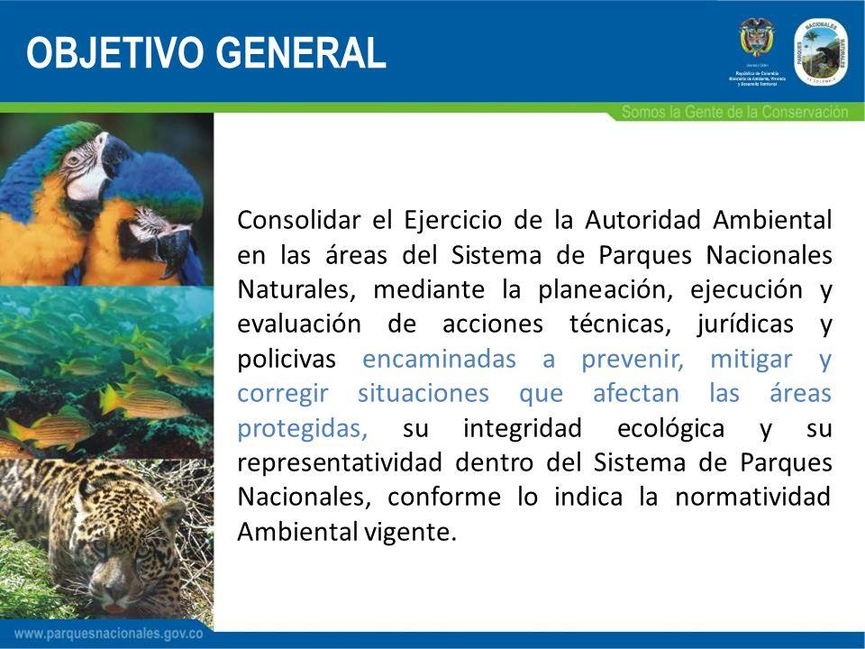 Consolidar el Ejercicio de la Autoridad Ambiental en las áreas del Sistema de Parques Nacionales Naturales, mediante la planeación, ejecución y evalua