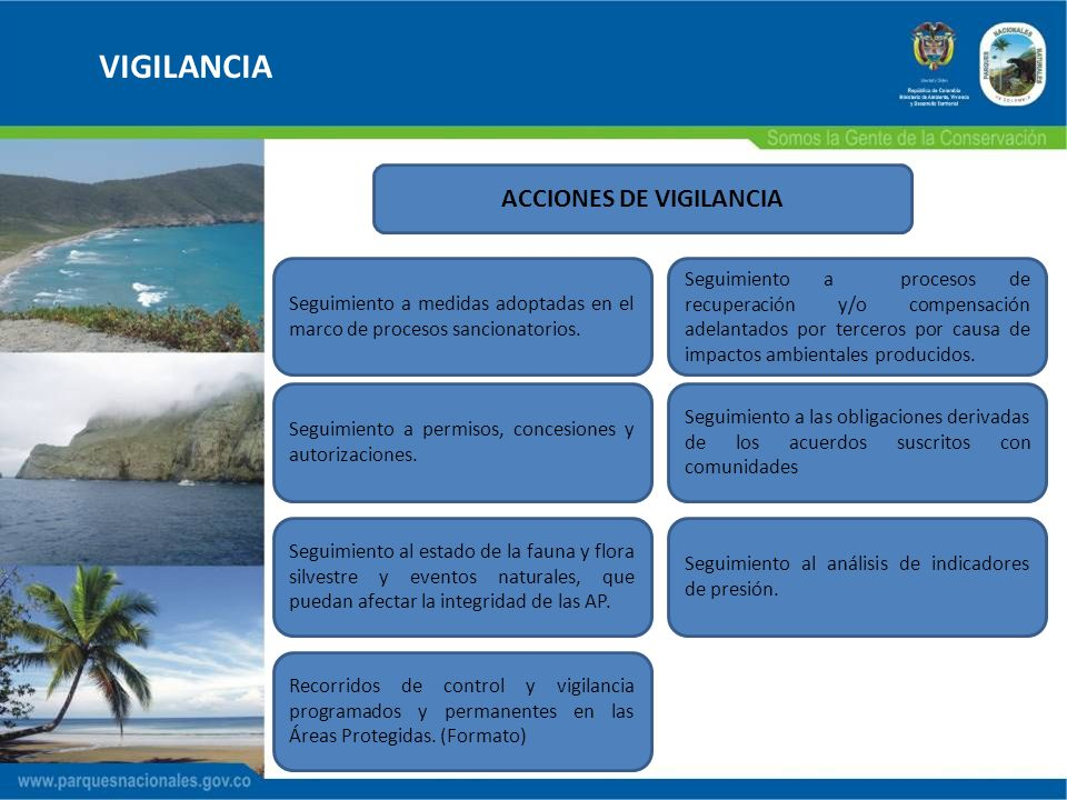 VIGILANCIA ACCIONES DE VIGILANCIA Recorridos de control y vigilancia programados y permanentes en las Áreas Protegidas. (Formato) Seguimiento a permis