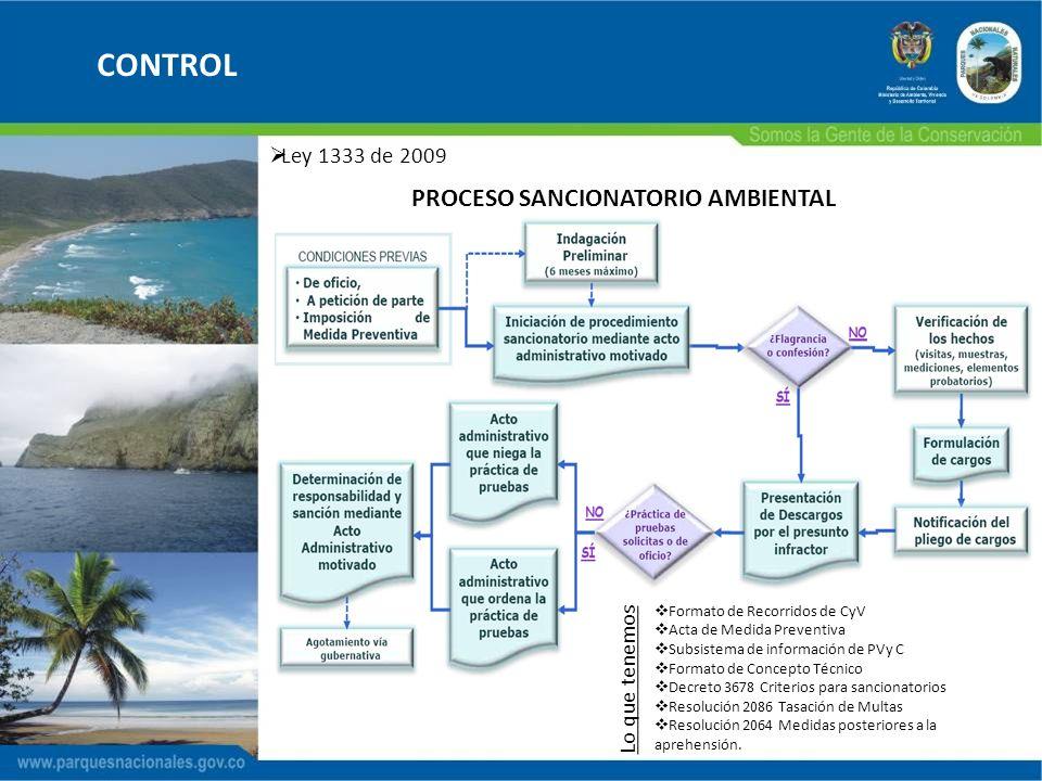 CONTROL Ley 1333 de 2009 PROCESO SANCIONATORIO AMBIENTAL Formato de Recorridos de CyV Acta de Medida Preventiva Subsistema de información de PVy C For