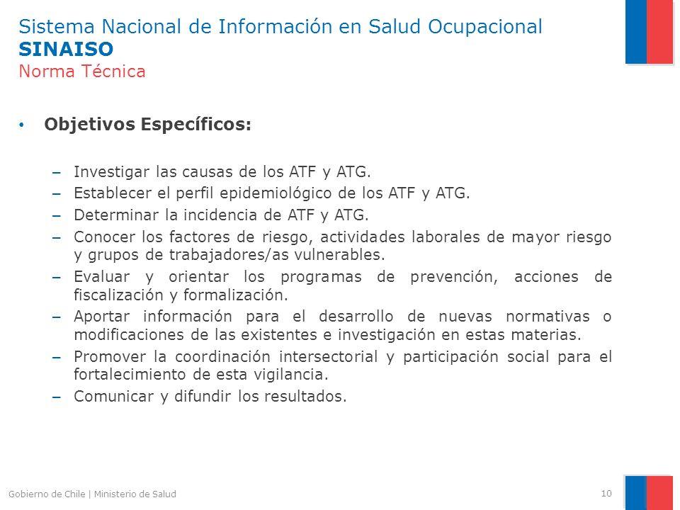 Sistema Nacional de Información en Salud Ocupacional SINAISO Norma Técnica Objetivos Específicos: – Investigar las causas de los ATF y ATG. – Establec