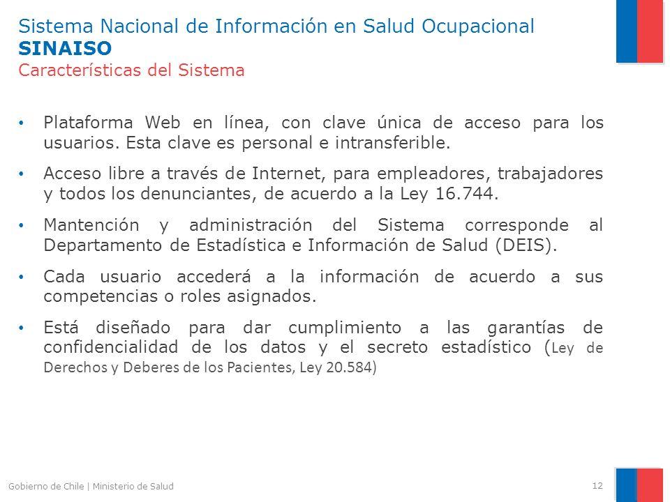 Sistema Nacional de Información en Salud Ocupacional SINAISO Características del Sistema Plataforma Web en línea, con clave única de acceso para los u