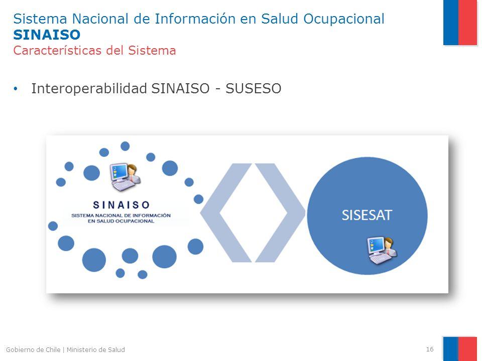 Sistema Nacional de Información en Salud Ocupacional SINAISO Características del Sistema Interoperabilidad SINAISO - SUSESO 16 Gobierno de Chile | Min