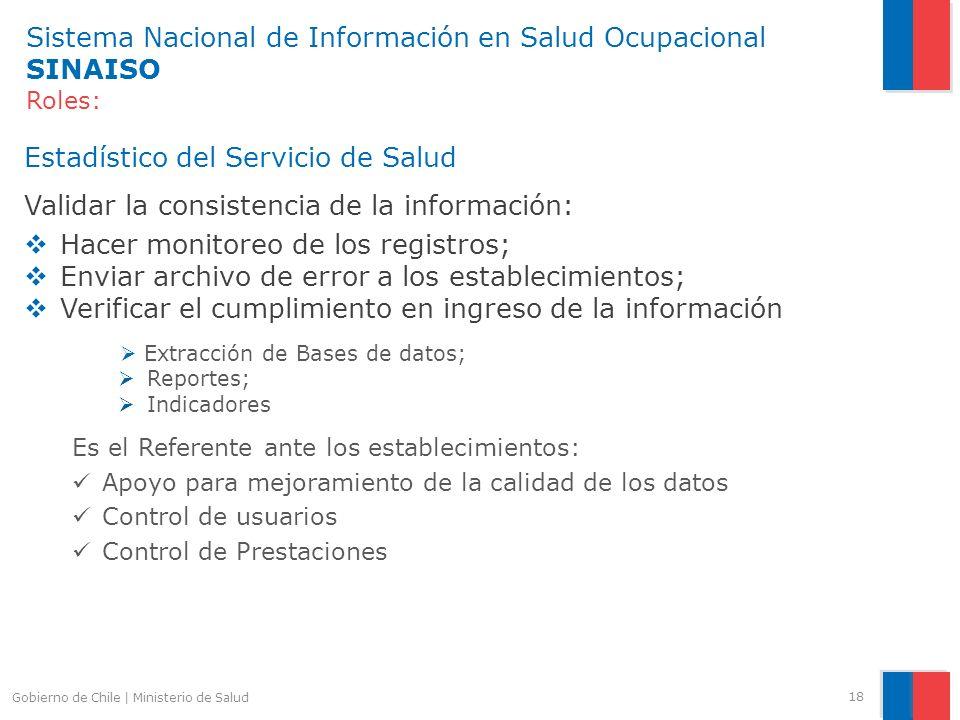 Sistema Nacional de Información en Salud Ocupacional SINAISO Roles: Estadístico del Servicio de Salud Validar la consistencia de la información: Hacer