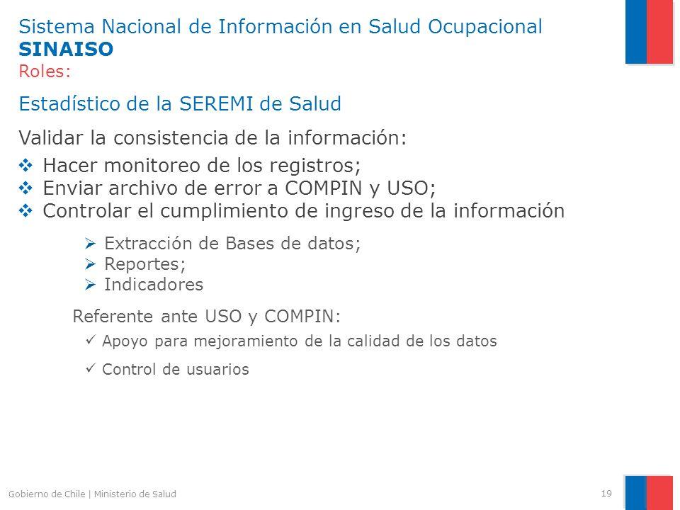 Sistema Nacional de Información en Salud Ocupacional SINAISO Roles: Estadístico de la SEREMI de Salud Validar la consistencia de la información: Hacer