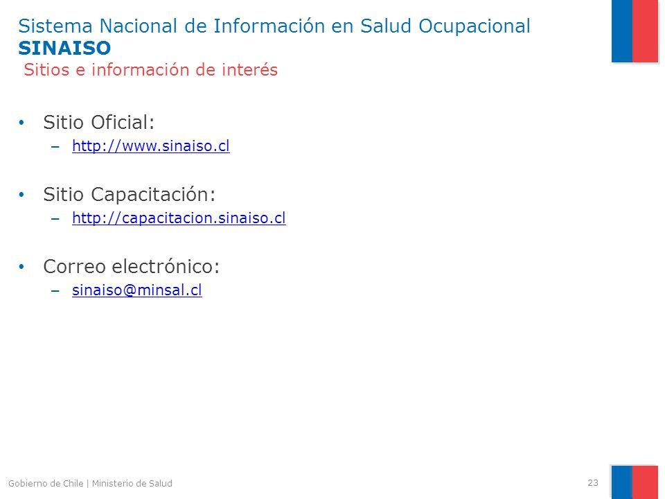 Sistema Nacional de Información en Salud Ocupacional SINAISO Sitios e información de interés Sitio Oficial: – http://www.sinaiso.cl http://www.sinaiso
