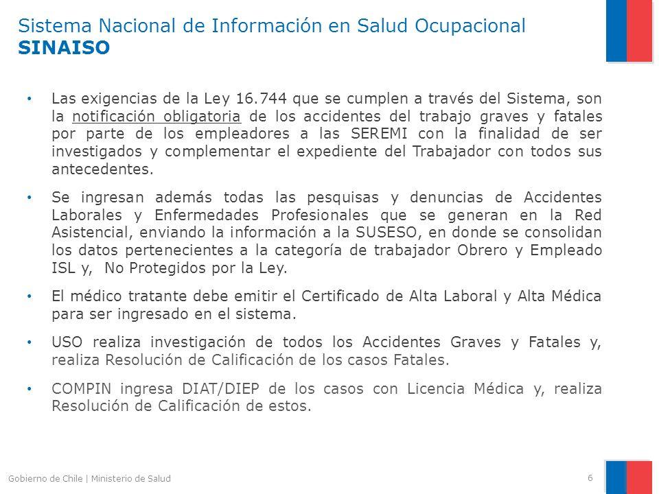 Sistema Nacional de Información en Salud Ocupacional SINAISO Las exigencias de la Ley 16.744 que se cumplen a través del Sistema, son la notificación