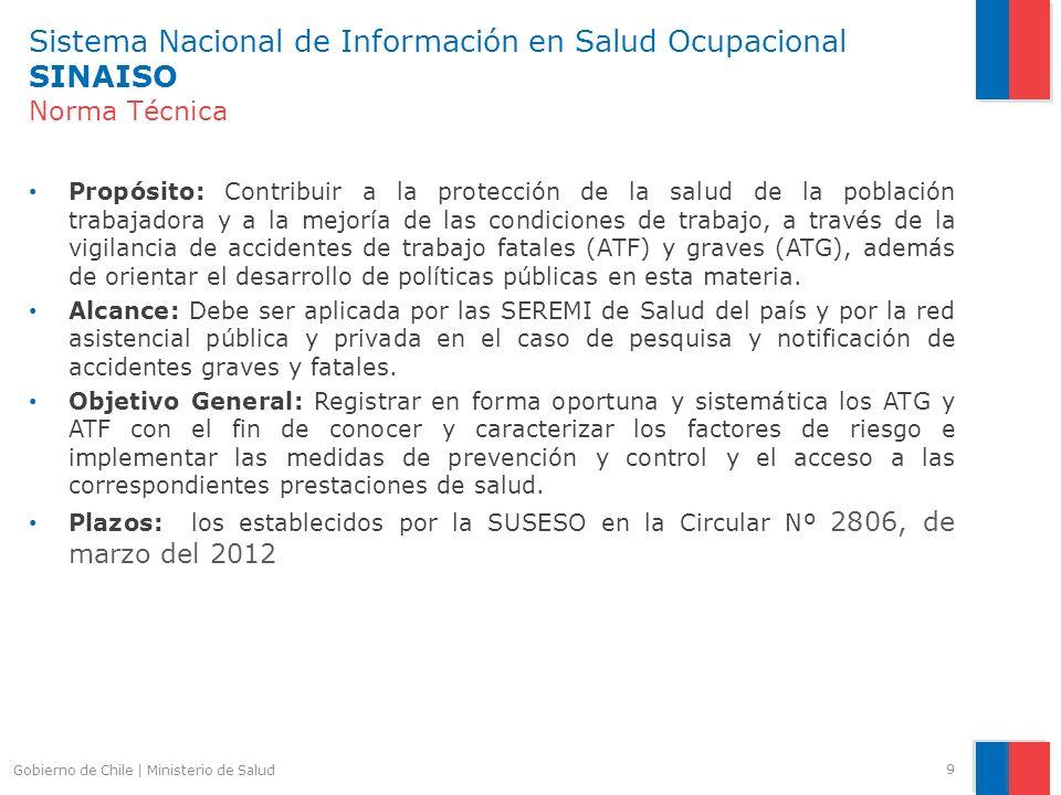 Sistema Nacional de Información en Salud Ocupacional SINAISO Norma Técnica Propósito: Contribuir a la protección de la salud de la población trabajado
