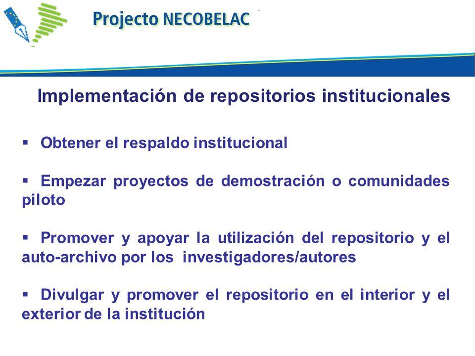 Obtener el respaldo institucional Empezar proyectos de demostración o comunidades piloto Promover y apoyar la utilización del repositorio y el auto-archivo por los investigadores/autores Divulgar y promover el repositorio en el interior y el exterior de la institución Implementación de repositorios institucionales