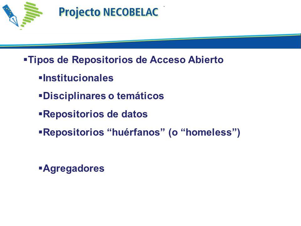 Tipos de Repositorios de Acceso Abierto Institucionales Disciplinares o temáticos Repositorios de datos Repositorios huérfanos (o homeless) Agregadores