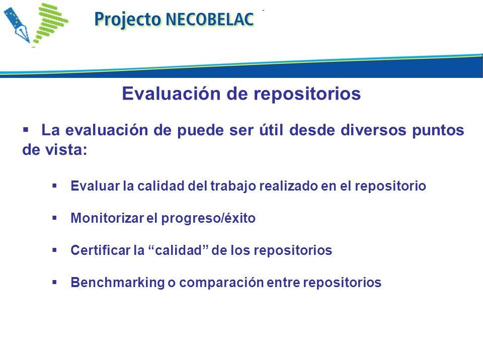 La evaluación de puede ser útil desde diversos puntos de vista: Evaluar la calidad del trabajo realizado en el repositorio Monitorizar el progreso/éxito Certificar la calidad de los repositorios Benchmarking o comparación entre repositorios Evaluación de repositorios