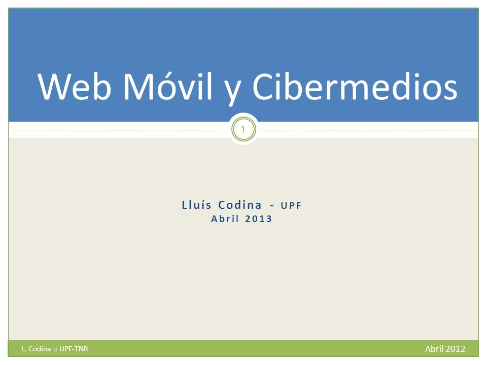 Sitio web y trabajos relacionados del autor Abril 2012 L.