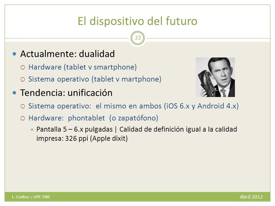 El dispositivo del futuro Abril 2012 L.