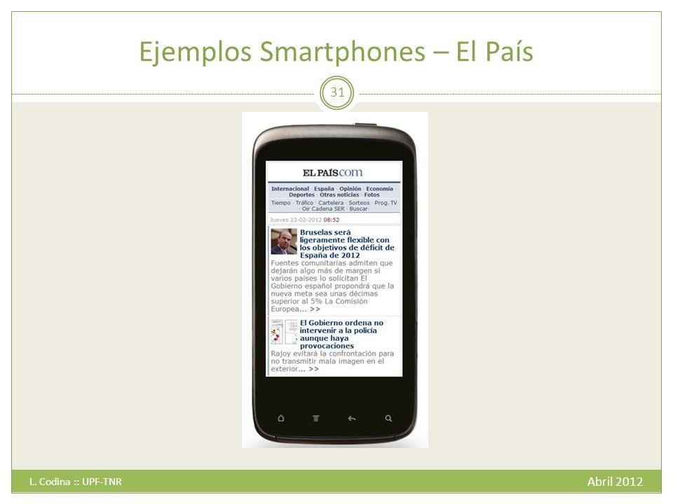 Ejemplos Smartphones – El País Abril 2012 L. Codina :: UPF-TNR 31