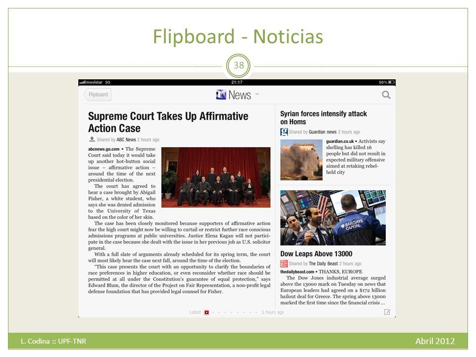 Flipboard - Noticias Abril 2012 L. Codina :: UPF-TNR 38