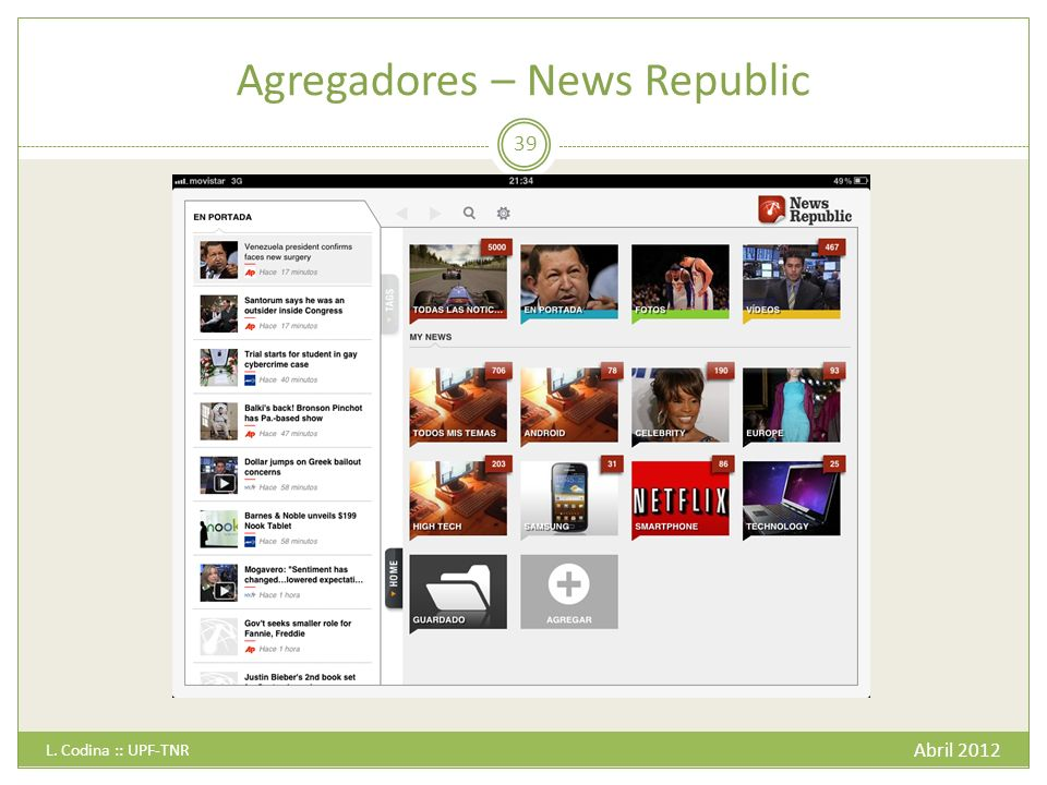 Agregadores – News Republic Abril 2012 L. Codina :: UPF-TNR 39
