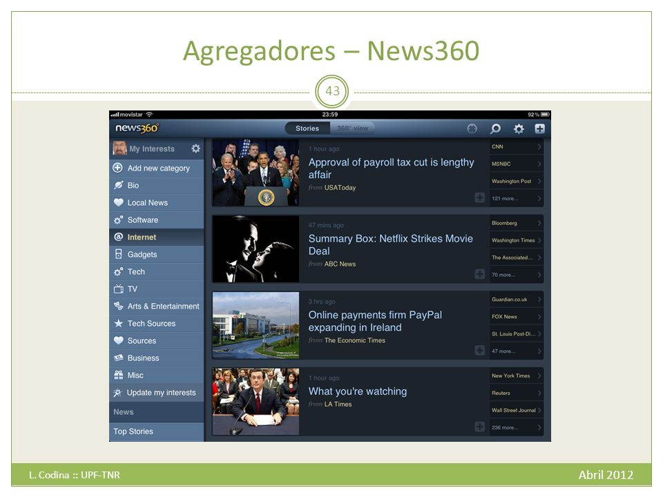 Agregadores – News360 Abril 2012 L. Codina :: UPF-TNR 43