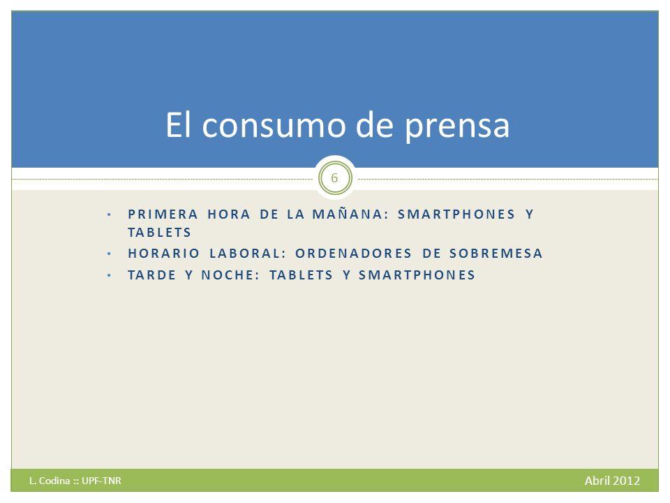 PRIMERA HORA DE LA MAÑANA: SMARTPHONES Y TABLETS HORARIO LABORAL: ORDENADORES DE SOBREMESA TARDE Y NOCHE: TABLETS Y SMARTPHONES L.