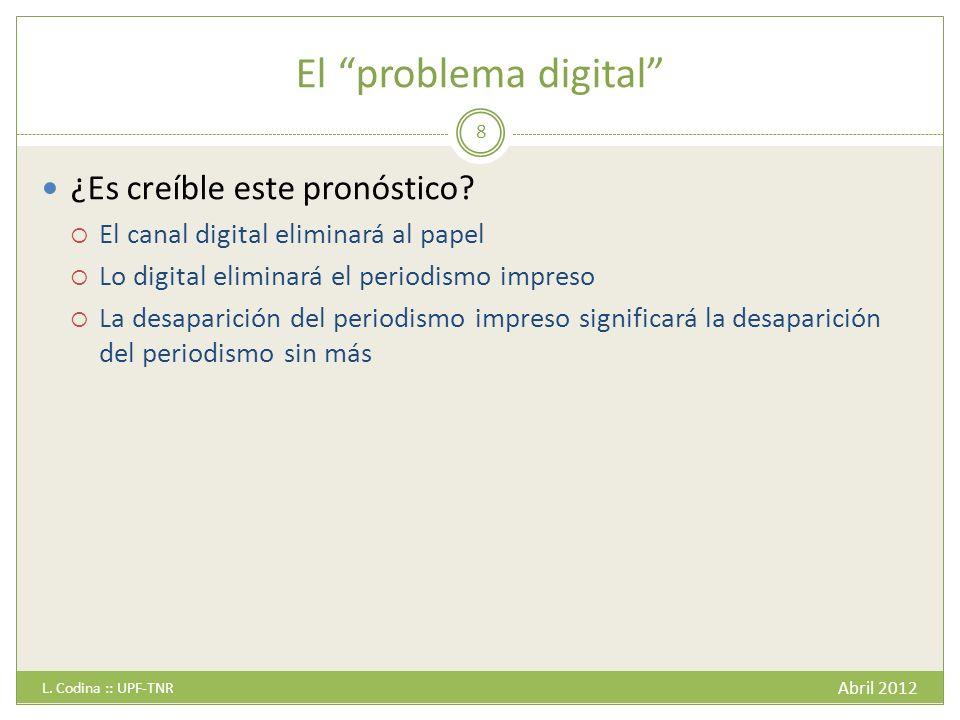 El problema digital Abril 2012 L. Codina :: UPF-TNR 8 ¿Es creíble este pronóstico.