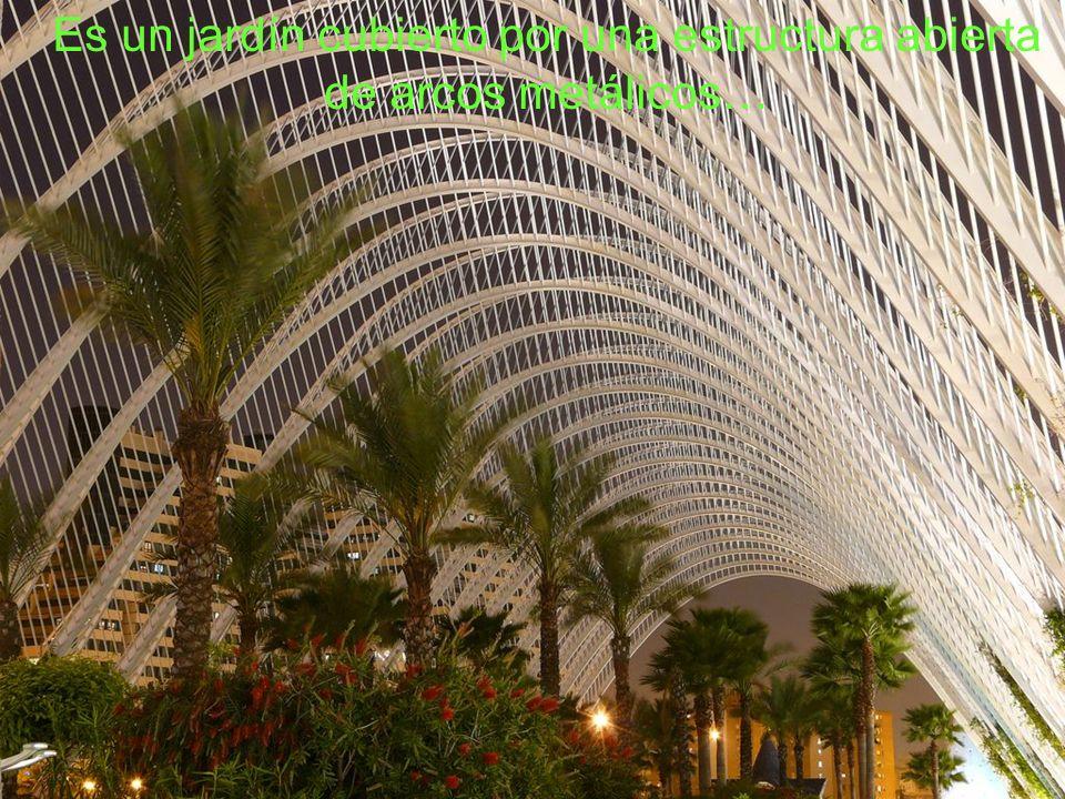 Es un jardín cubierto por una estructura abierta de arcos metálicos…