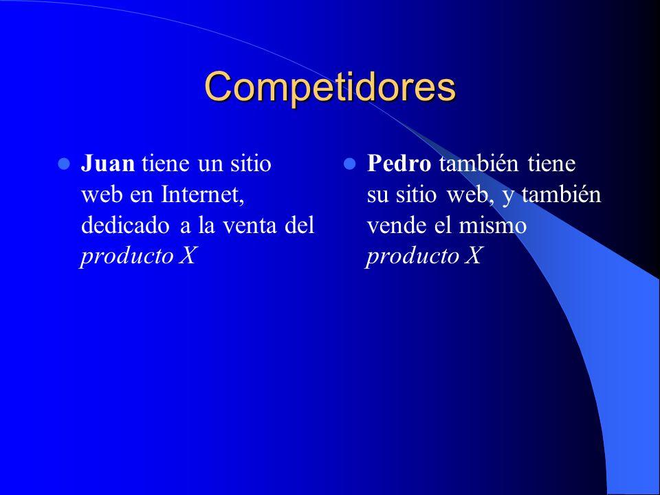 Competidores Juan tiene un sitio web en Internet, dedicado a la venta del producto X Pedro también tiene su sitio web, y también vende el mismo producto X