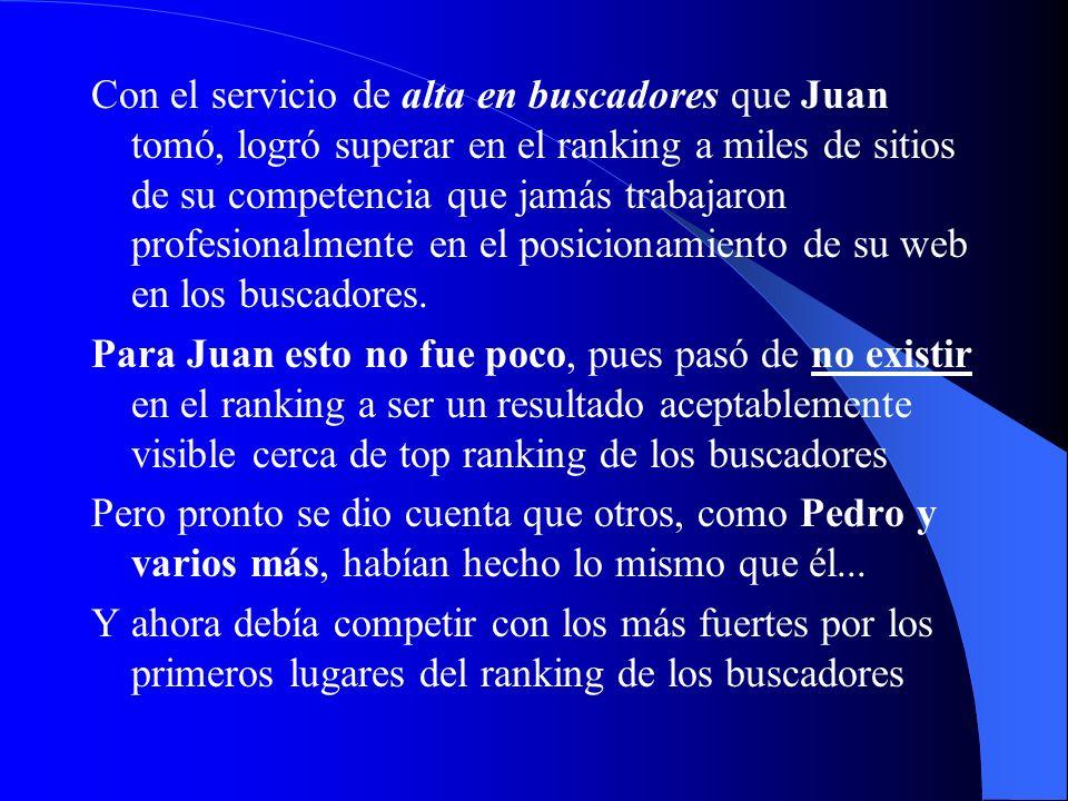 Con el servicio de alta en buscadores que Juan tomó, logró superar en el ranking a miles de sitios de su competencia que jamás trabajaron profesionalmente en el posicionamiento de su web en los buscadores.