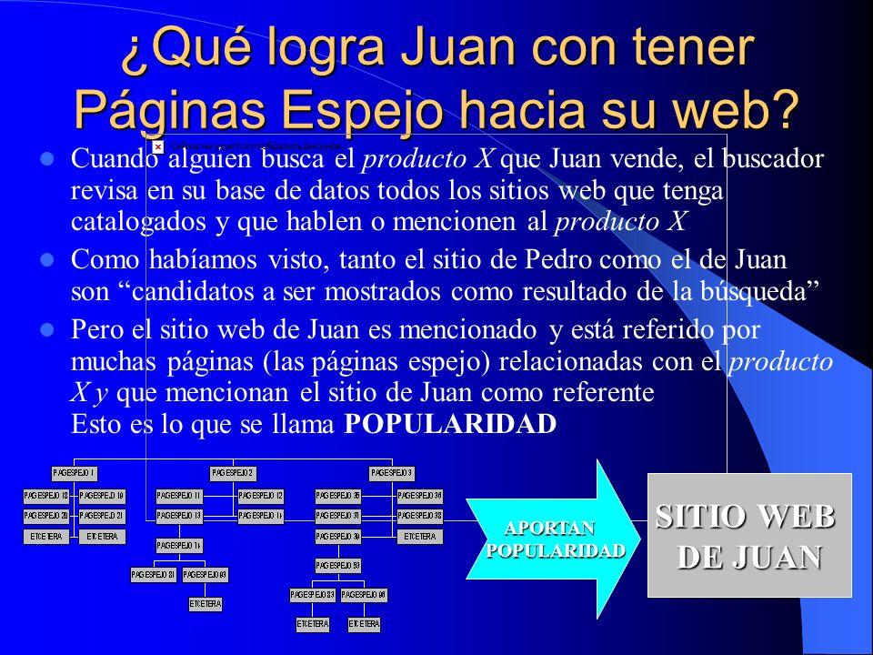 ¿Qué logra Juan con tener Páginas Espejo hacia su web.