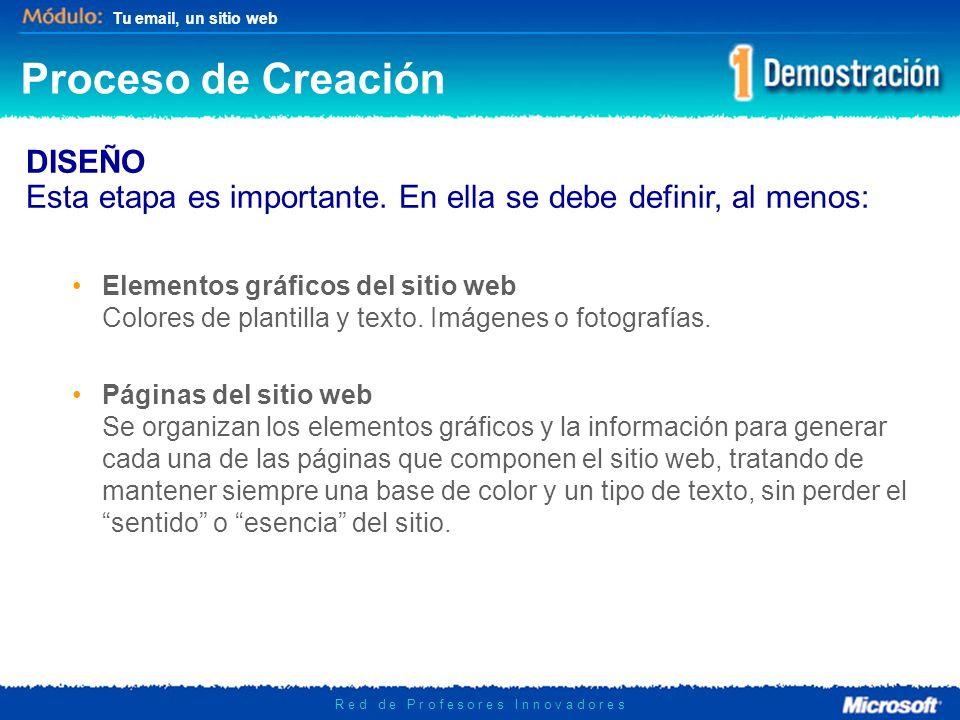 Tu email, un sitio web R e d d e P r o f e s o r e s I n n o v a d o r e s Componentes del Sitio Web Nuestra portada tendrá los siguientes componentes: LINKS: Hipervínculos que enlazan a otras secciones del sitio web o a otros sitios.