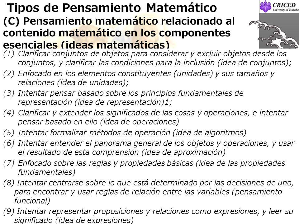 Tipos de Pensamiento Matemático (C) Pensamiento matemático relacionado al contenido matemático en los componentes esenciales (ideas matemáticas) Clari